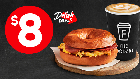 Toasted bacon & Egg bagel with barista coffee for $8